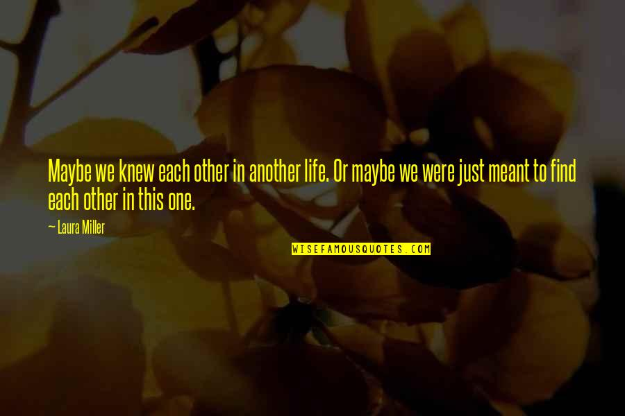Find Another Love Quotes By Laura Miller: Maybe we knew each other in another life.