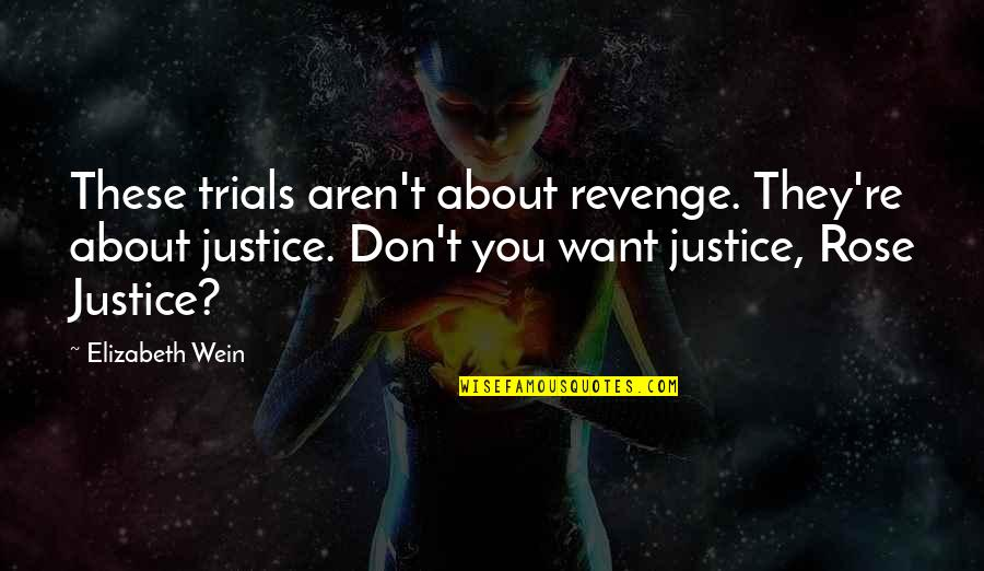 Find The Good In Others Quotes By Elizabeth Wein: These trials aren't about revenge. They're about justice.