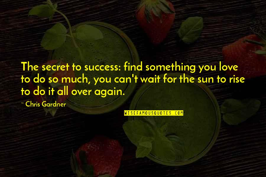 Find You Again Quotes By Chris Gardner: The secret to success: find something you love
