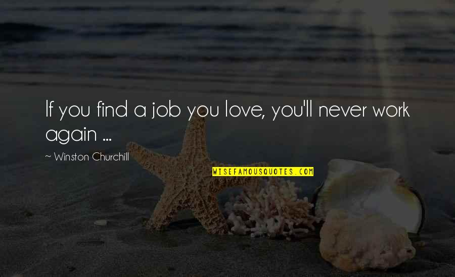 Find You Again Quotes By Winston Churchill: If you find a job you love, you'll