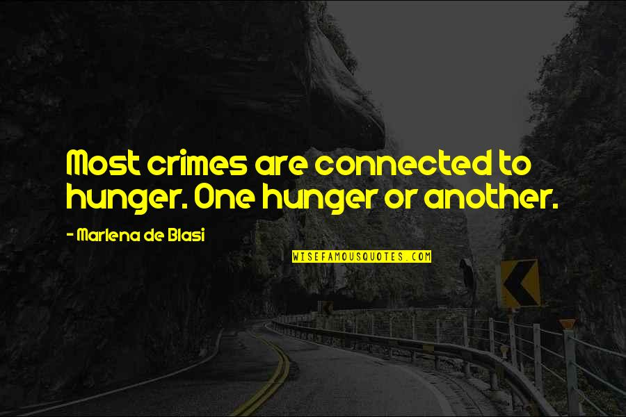 Finding Peace In Your Life Quotes By Marlena De Blasi: Most crimes are connected to hunger. One hunger