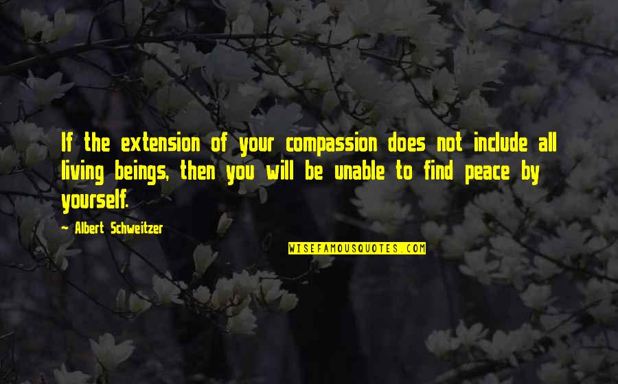 Finding Peace Quotes By Albert Schweitzer: If the extension of your compassion does not
