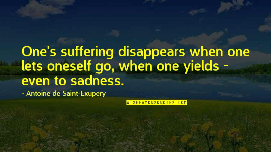Finding Your Old Self Quotes By Antoine De Saint-Exupery: One's suffering disappears when one lets oneself go,