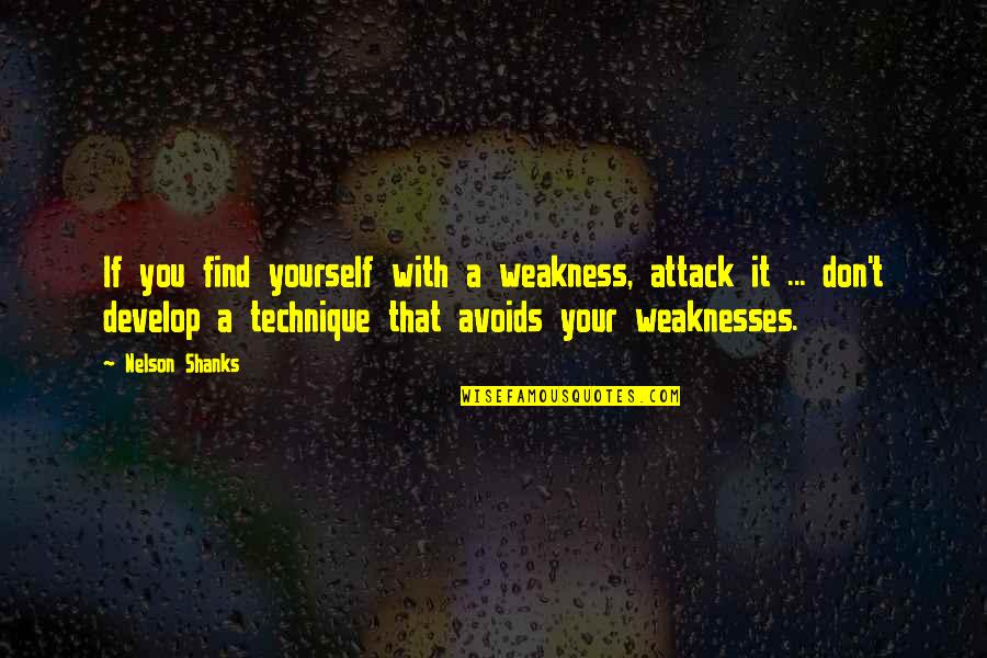 Finding Yourself Quotes By Nelson Shanks: If you find yourself with a weakness, attack