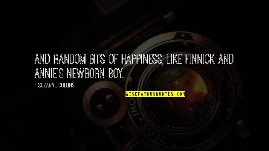 Finnick Quotes By Suzanne Collins: And random bits of happiness, like Finnick and