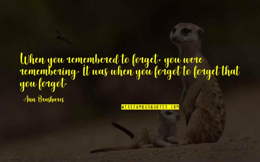 Finnie Quotes By Ann Brashares: When you remembered to forget, you were remembering.