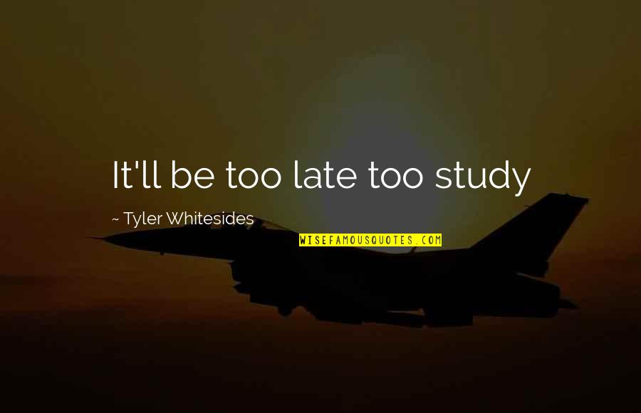 Fire Brimstone Bible Quotes By Tyler Whitesides: It'll be too late too study