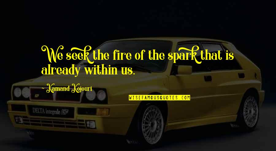 Fire Within Quotes By Kamand Kojouri: We seek the fire of the spark that