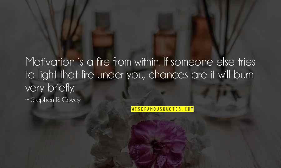 Fire Within Quotes By Stephen R. Covey: Motivation is a fire from within. If someone