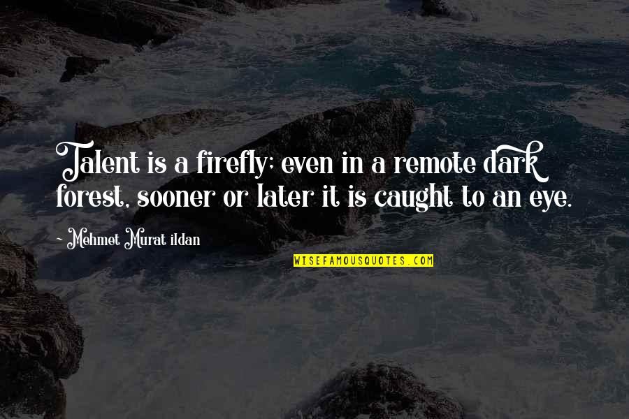 Firefly's Quotes By Mehmet Murat Ildan: Talent is a firefly; even in a remote