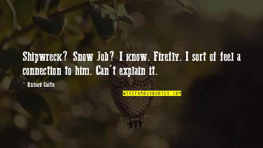 Firefly's Quotes By Richard Castle: Shipwreck? Snow Job? I know. Firefly. I sort