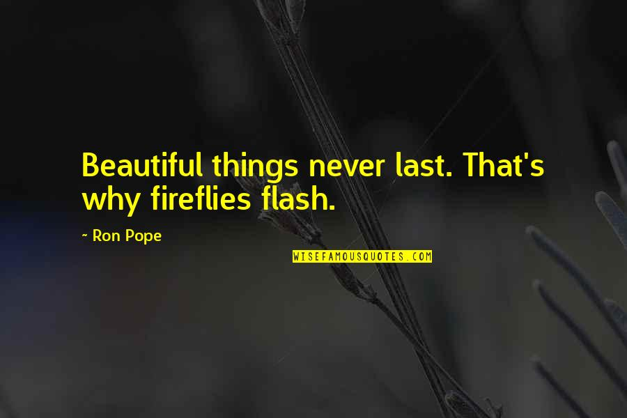 Firefly's Quotes By Ron Pope: Beautiful things never last. That's why fireflies flash.