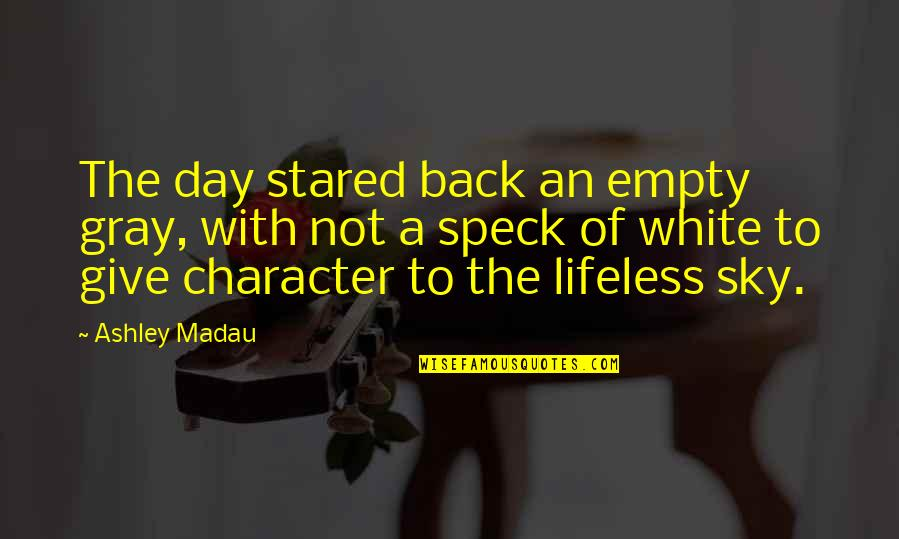 First Day Back Quotes By Ashley Madau: The day stared back an empty gray, with