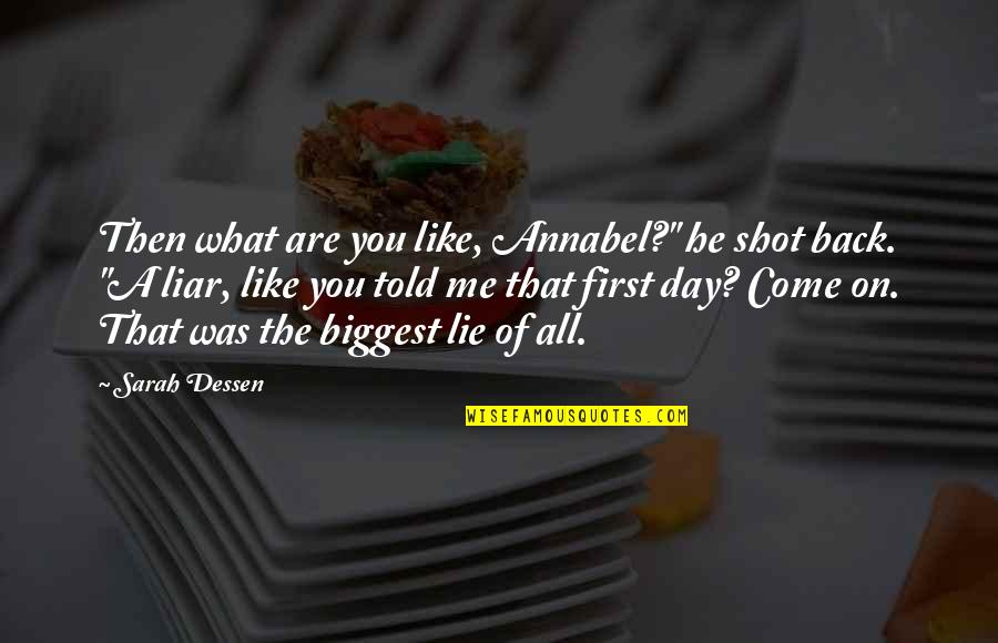 """First Day Back Quotes By Sarah Dessen: Then what are you like, Annabel?"""" he shot"""