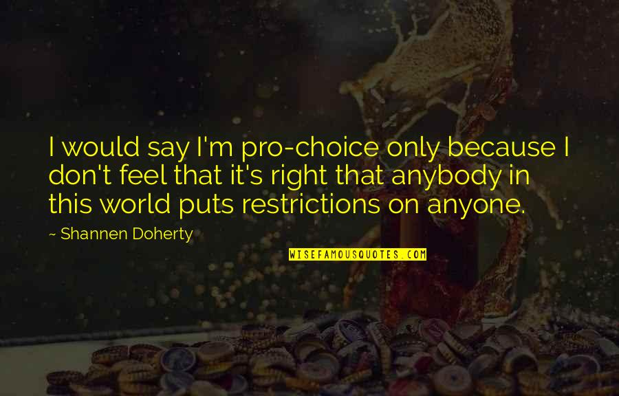 First Day Of School After Summer Holidays Quotes By Shannen Doherty: I would say I'm pro-choice only because I
