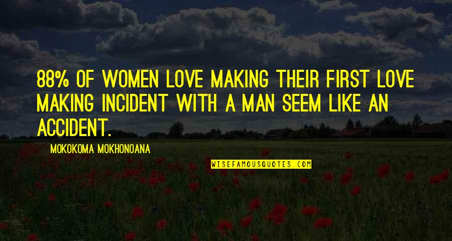 First Sex Quotes By Mokokoma Mokhonoana: 88% of women love making their first love