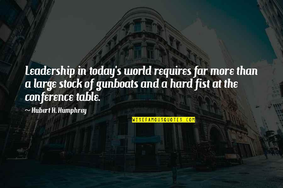Fist Quotes By Hubert H. Humphrey: Leadership in today's world requires far more than