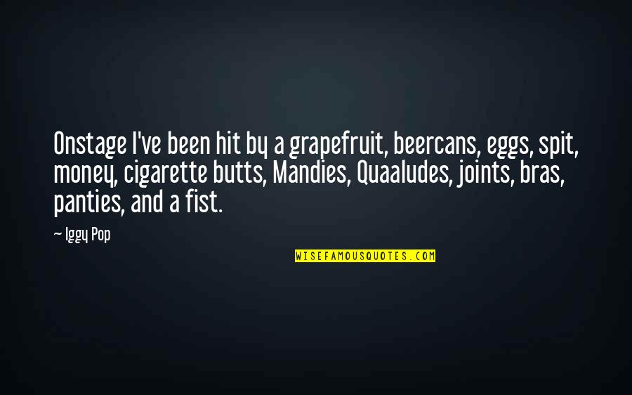 Fist Quotes By Iggy Pop: Onstage I've been hit by a grapefruit, beercans,