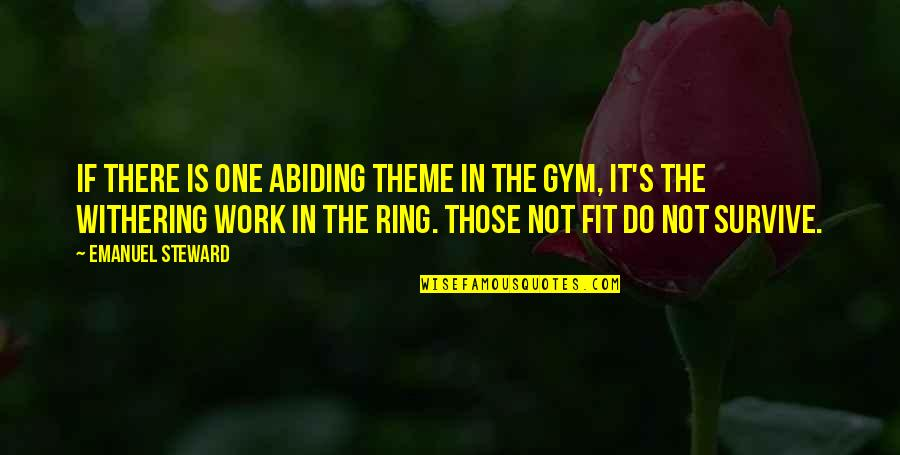 Fit To Work Quotes By Emanuel Steward: If there is one abiding theme in the