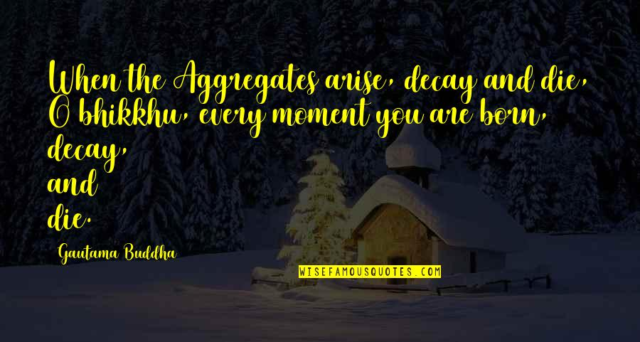 Five Senses Quotes By Gautama Buddha: When the Aggregates arise, decay and die, O