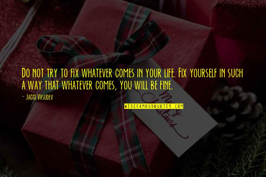 Fix It Yourself Quotes By Jaggi Vasudev: Do not try to fix whatever comes in