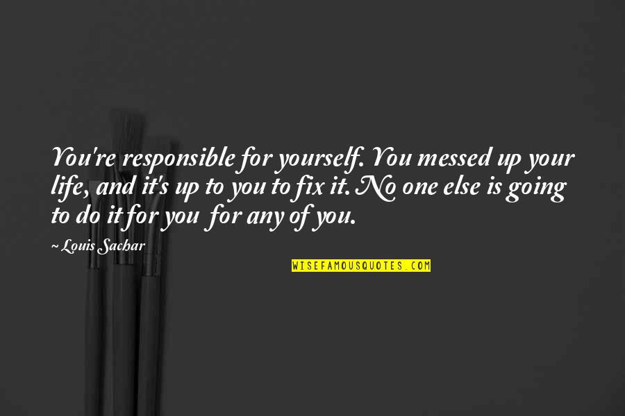 Fix It Yourself Quotes By Louis Sachar: You're responsible for yourself. You messed up your