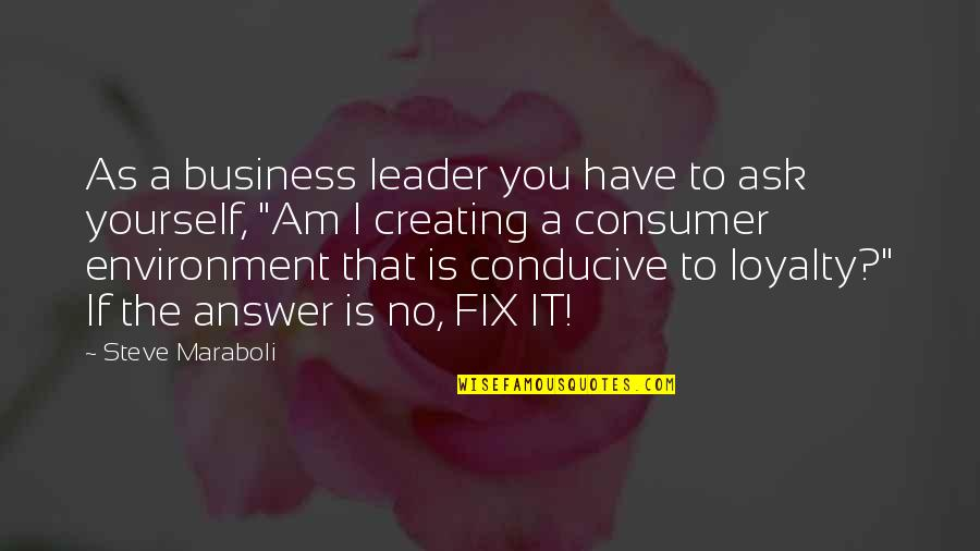 Fix It Yourself Quotes By Steve Maraboli: As a business leader you have to ask
