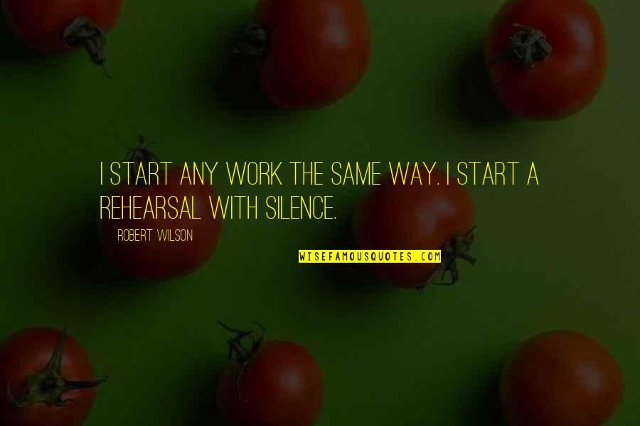 Flailing Quotes By Robert Wilson: I start any work the same way. I