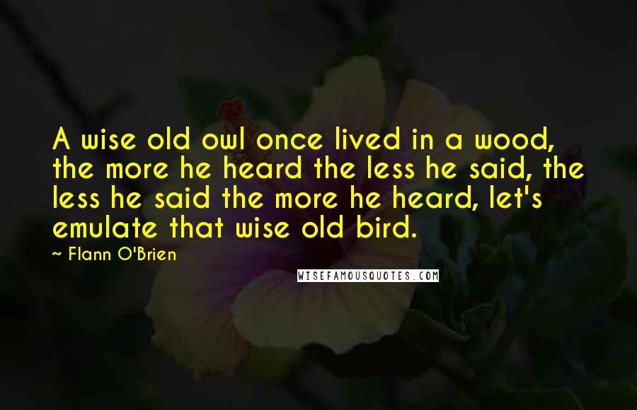 Flann O'Brien quotes: A wise old owl once lived in a wood, the more he heard the less he said, the less he said the more he heard, let's emulate that wise old