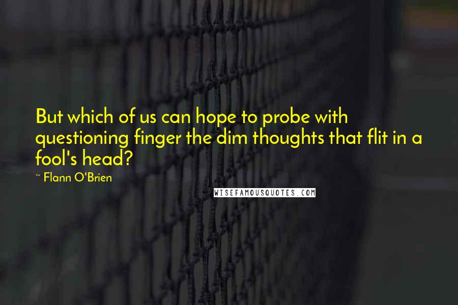 Flann O'Brien quotes: But which of us can hope to probe with questioning finger the dim thoughts that flit in a fool's head?