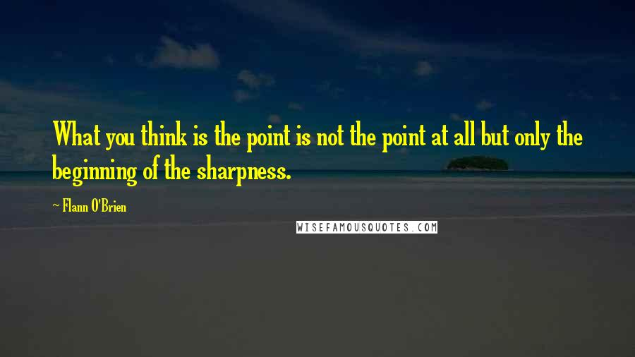 Flann O'Brien quotes: What you think is the point is not the point at all but only the beginning of the sharpness.
