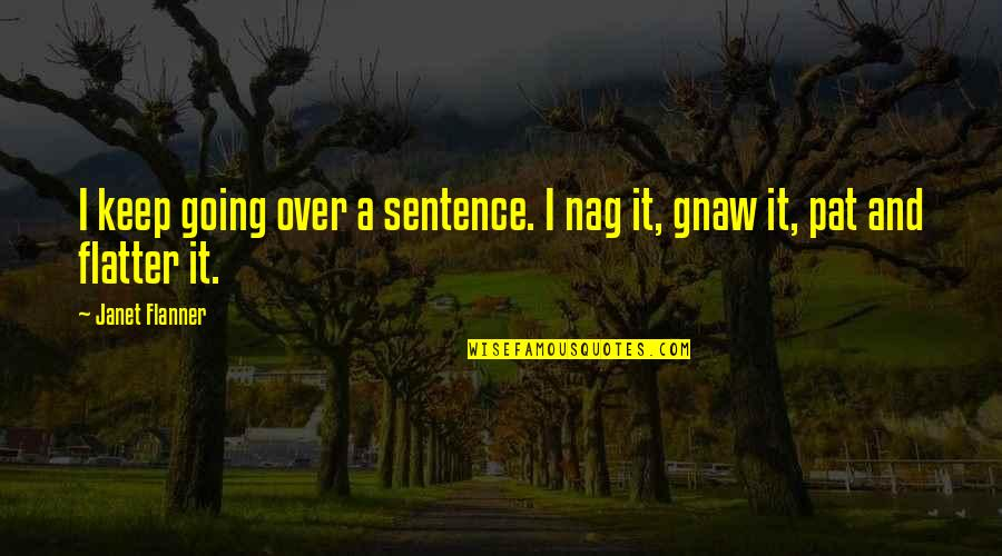 Flanner Quotes By Janet Flanner: I keep going over a sentence. I nag