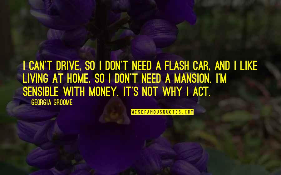 Flash Drive Quotes By Georgia Groome: I can't drive, so I don't need a