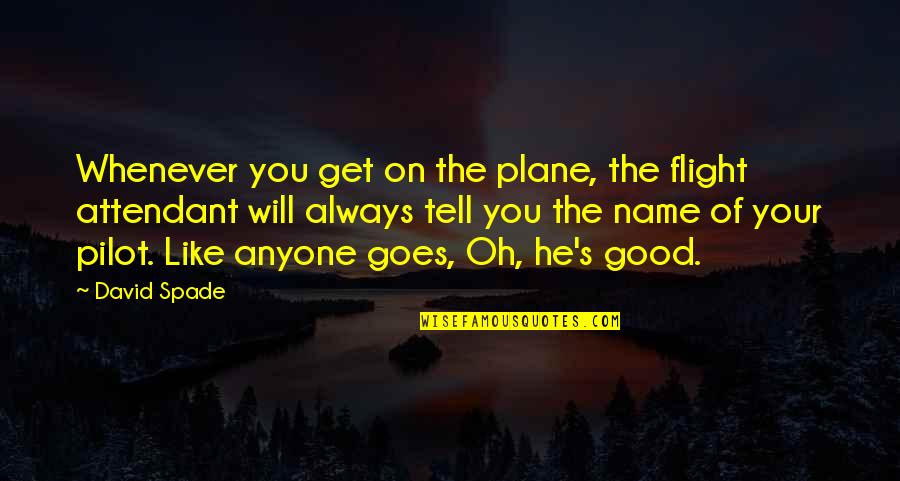 Flight Pilot Quotes By David Spade: Whenever you get on the plane, the flight