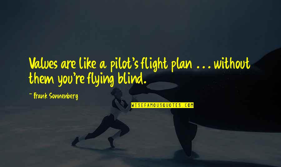 Flight Pilot Quotes By Frank Sonnenberg: Values are like a pilot's flight plan .