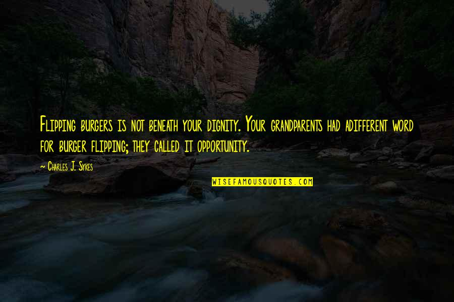 Flipping Out Quotes By Charles J. Sykes: Flipping burgers is not beneath your dignity. Your