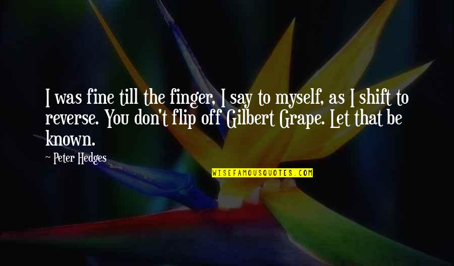 Flipping Out Quotes By Peter Hedges: I was fine till the finger, I say