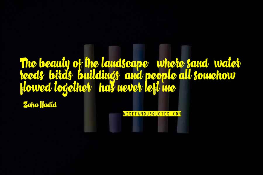 Flowed Quotes By Zaha Hadid: The beauty of the landscape - where sand,