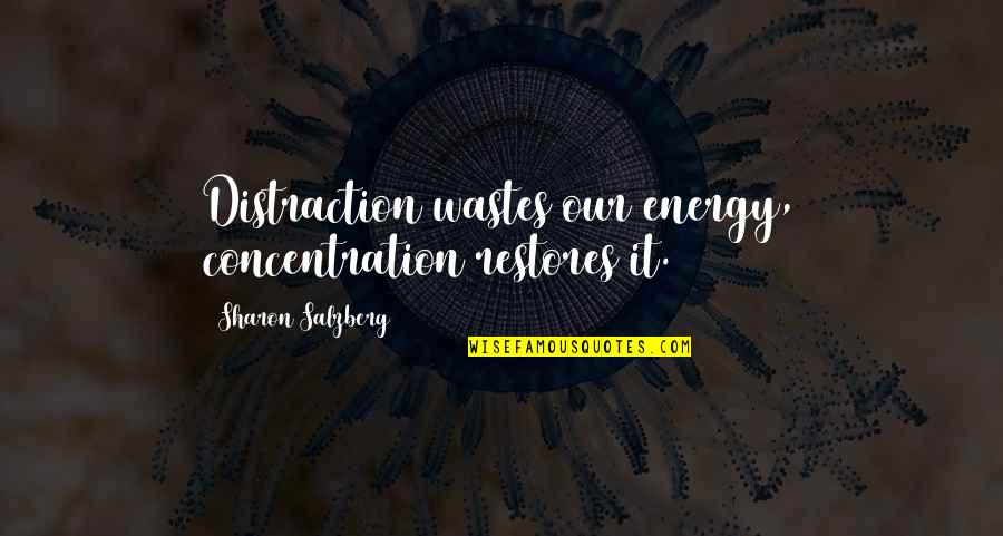 Flower Bomb Quotes By Sharon Salzberg: Distraction wastes our energy, concentration restores it.