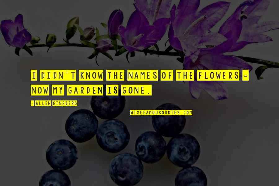Flower Garden Quotes By Allen Ginsberg: I didn't know the names of the flowers