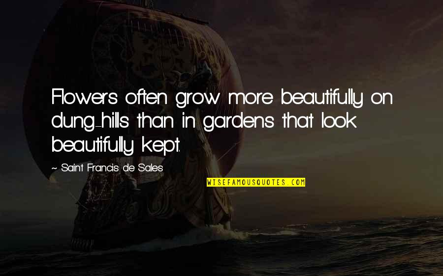 Flower Garden Quotes By Saint Francis De Sales: Flowers often grow more beautifully on dung-hills than