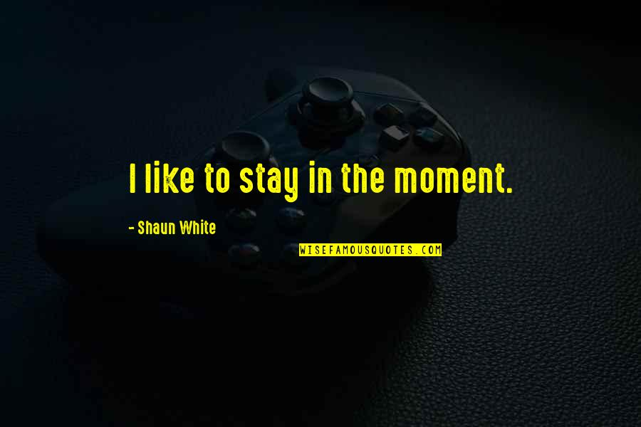Fluorescings Quotes By Shaun White: I like to stay in the moment.