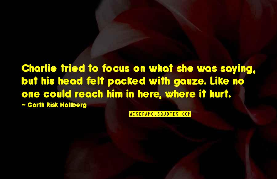 Focus On The Here And Now Quotes By Garth Risk Hallberg: Charlie tried to focus on what she was