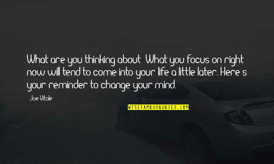 Focus On The Here And Now Quotes By Joe Vitale: What are you thinking about? What you focus