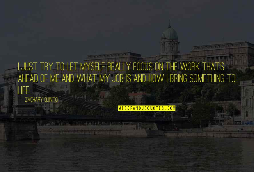 Focus On Work Quotes By Zachary Quinto: I just try to let myself really focus