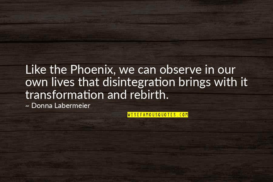 Folk Singer Quotes By Donna Labermeier: Like the Phoenix, we can observe in our