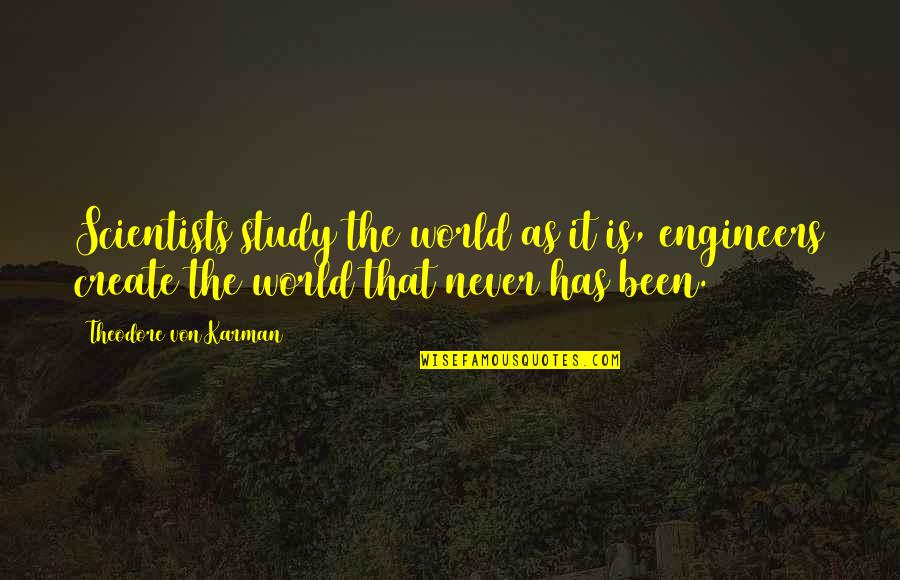 Food And Entertaining Quotes By Theodore Von Karman: Scientists study the world as it is, engineers
