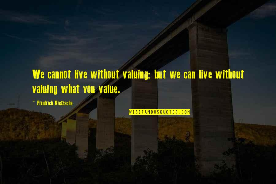 Food Pantry Quotes By Friedrich Nietzsche: We cannot live without valuing: but we can
