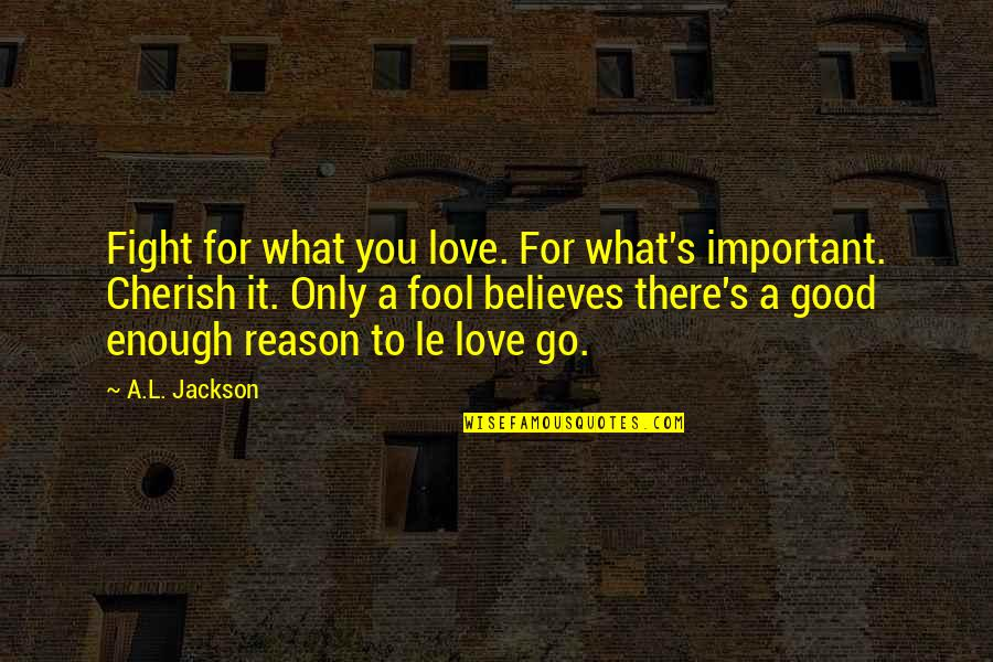 Fool Love Quotes By A.L. Jackson: Fight for what you love. For what's important.