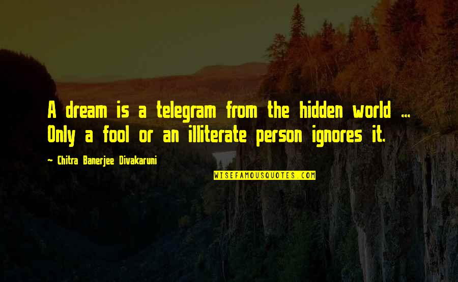 Fool Person Quotes By Chitra Banerjee Divakaruni: A dream is a telegram from the hidden